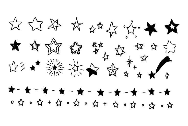 【フリー素材】手描き文字〜星☆編〜